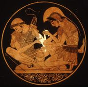 Achilles binds the wound of Patroclus.