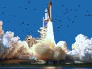 Challenger lifts off.