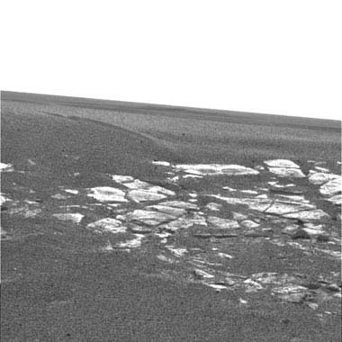 Opportunity rover landed inside a small impact crater.