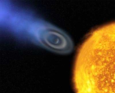 Hubble Space Telescope shows extrasolar gas giant.