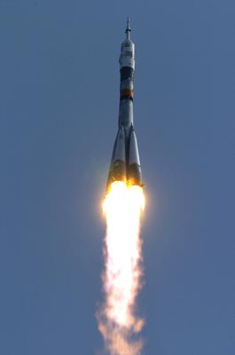 Soyuz Launches from Baikonur Cosmodrome.