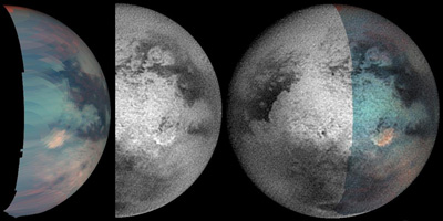 Titan and its strange spot viewed in different wavelengths.