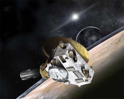 New Horizons spacecraft sweeping past Pluto.