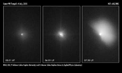 Hubble's view of the Deep Impact collision.