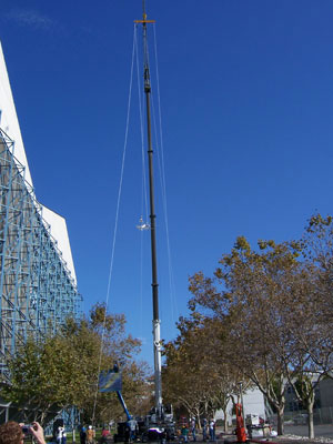 61 metre cable hung from a crane. Image credit: Spaceward Foundation.