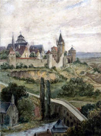 Adolf Hitler depicting Laon, France.