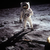 Buzz Aldrin poses on the moon.