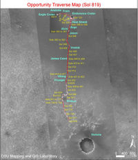 Opportunity traverse map.