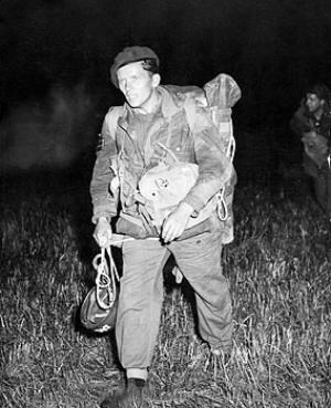 SAS paratrooper on night drop exercise.