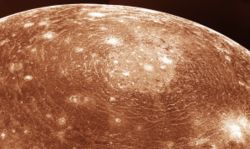 impact crater on Jupiter's moon Callisto.
