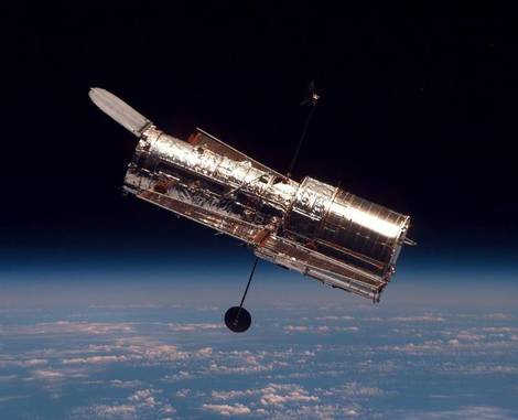 The Hubble Space Telescope as seen from Space Shuttle Discovery.
