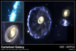 galaxy collides with another galaxy.