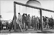 Soviet partisans hanged by German forces in January 1943