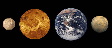 Mercury, Venus, Earth, and Mars.