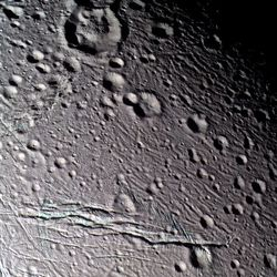 False-color view of Enceladus.