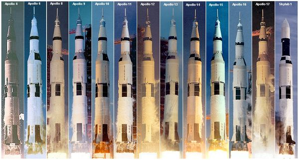 Saturn V launches.