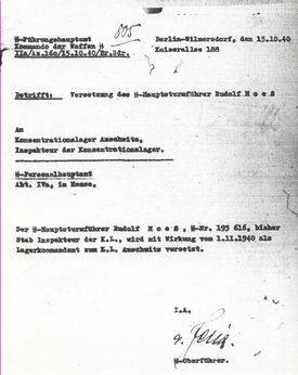 Rudolf Höss's assignment order to assume duties as Kommandant of Auschwitz Concentration Camp