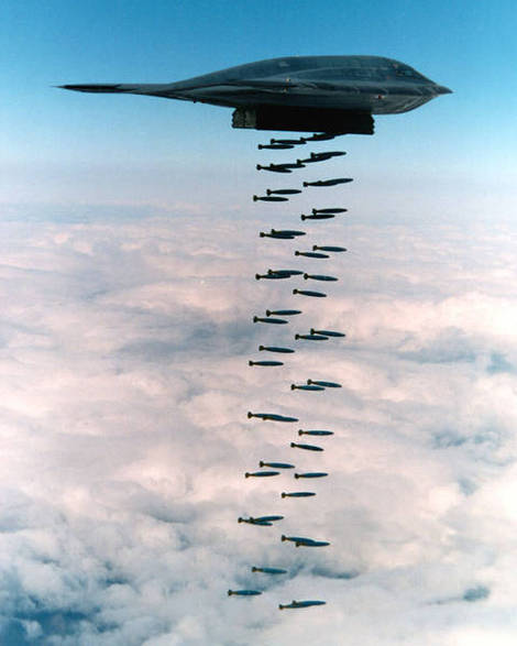 B-2 Spirit dropping bombs.