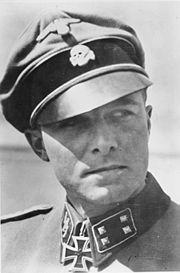 SS-Standartenführer Joachim Peiper, commander of the 1st SS Panzer Regiment LSSAH. Shown here as an SS-Sturmbannführer.