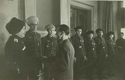 Goebbels greeting soldiers from the Eastern Front