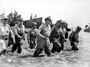 A famous photo of Gen. MacArthur coming ashore back to the Philippines
