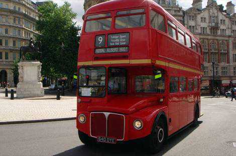 A Routemaster double-decker bus in London.