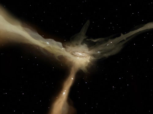 a galaxy accretes mass from rapid, narrow streams of cold gas.
