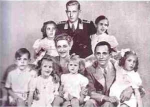 Joseph Goebbels and his family, pictured around October 1942, with Harald Quandt (Magda's son by her first marriage) in the back row