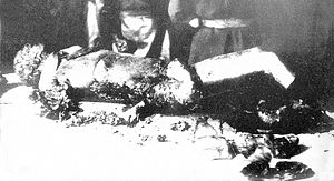 The partly burned corpse of Joseph Goebbels, photographed by the Soviet secret service in May 1945
