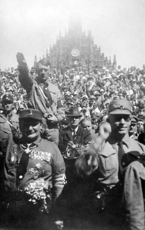 Adolf Hitler at a Nazi rally in Nuremberg.