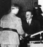 Hanns Johst receiving a literary prize from Alfred Rosenberg in 1935