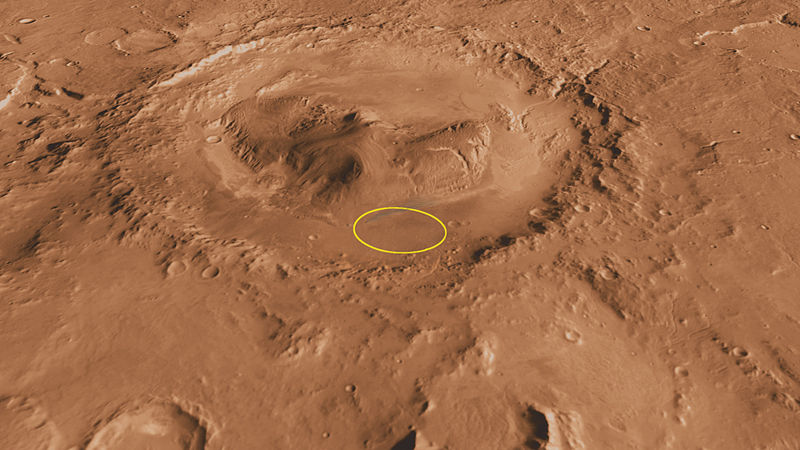 Gale Crater, with planned landing ellipse.