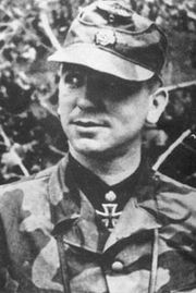 Signal Magazine photograph of Meyer as commander of SS-Panzergrenadier Regiment 25. Mid June, 1944. Note the tailored Italian camoflague jacket
