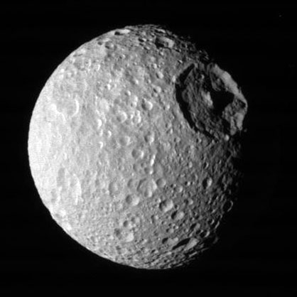 Herschel Crater on Saturn's moon Mimas.