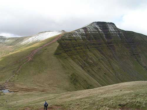 Pen y Fan 2,907 feet (886 m) above sea-level.