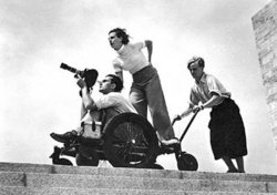 Riefenstahl on a camera dolly (during the production of Olympia)