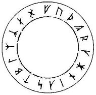 Circular arrangement of the Armanen Futharkh.