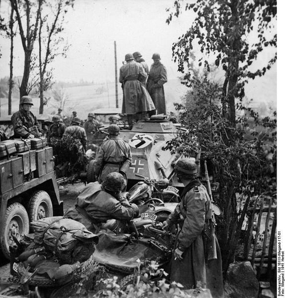 Motorcyclists from the SS Division Totenkopf.