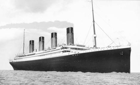 Titanic at sea.