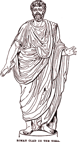 Roman clad in a toga.