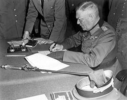 Keitel, signing the ratified surrender terms for the German Army in Berlin, 8/9 May 1945