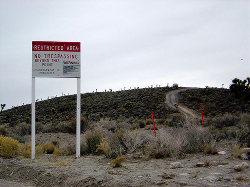 Area 51 military warning sign.