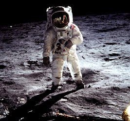 Astronaut Standing on Moon Surface. Maybe