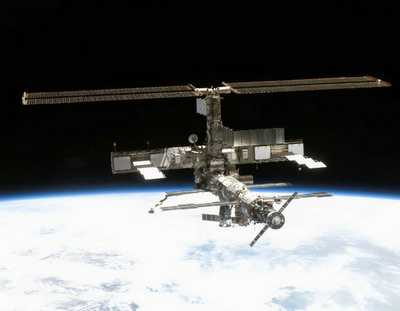 International Space Station photographed by STS crewmember.