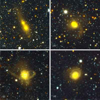 Galaxy collisions in the universe.