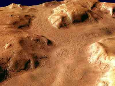 Perspective view of Reull Vallis.