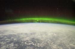Aurora seen from the space station. Image credit: NASA.
