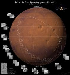 Mariner IV encounter with Mars. Image credit: NASA/JPL.