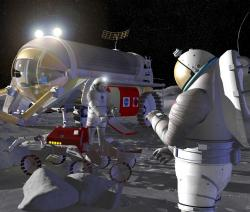 astronauts and robots on the Moon.