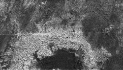 Partial view of a crater on Titan. Image credit: NASA/JPL/SSI.